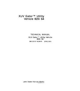 JOHN DEERE XUV 825i S4 GATOR UTILITY VEHICLE SERVICE TECHNICAL MANUAL TM121519   eBooks   Automotive