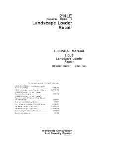 John Deere 210le Landscape Loader Service Technical Manual Tm10149   eBooks   Automotive