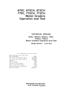 John Deere 670c 670ch 672ch 770c 770ch 772ch Motor Grader Operation And Test Service Manual Tm1606 | eBooks | Automotive