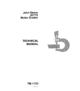 John Deere 770 Motor Grader Service Technical Manual Tm1123 | eBooks | Automotive