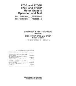John Deere 870g 870gp 872g 872gp Motor Grader Operation And Test Service Manual Tm13028x19 | eBooks | Automotive