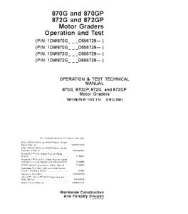 John Deere 870g 870gp 872g 872gp Motor Grader Operation And Test Service Manual Tm13067x19 | eBooks | Automotive