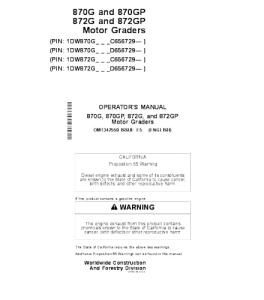 John Deere 870g 870gp 872g 872gp Motor Grader Operator Manual Omt342550 | eBooks | Automotive