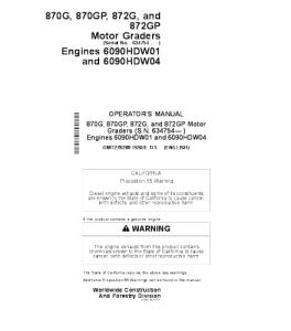 John Deere 870g 870gp 872g 872gp Motor Grader Operator Manual Omt278209 | eBooks | Automotive