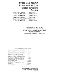 John Deere 870g 870gp 872g 872gp Motor Grader Service Technical Manual Tm13070x19 | eBooks | Automotive