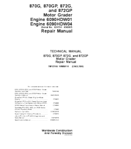 John Deere 870g 870gp 872g 872gp Motor Grader Service Technical Manual Tm12146 | eBooks | Automotive
