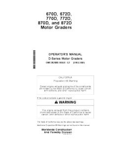 John Deere 670d 672d 770d 772d 870d 872d Motor Grader Operator Manual Omt202890   eBooks   Automotive