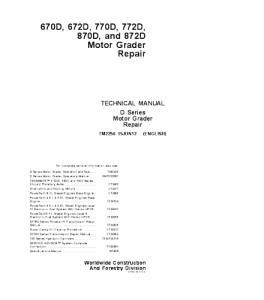 John Deere 670d 672d 770d 772d 870d 872d Motor Grader Service Technical Manual Tm2256   eBooks   Automotive