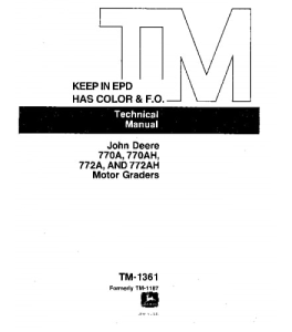 John Deere 770a 770ah 772a 772ah Motor Grader Service Technical Manual Tm1361 | eBooks | Automotive