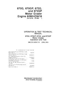 John Deere 670g 670gp 672g 672gp Motor Grader Operation And Test Service Manual Tm12135 | eBooks | Automotive