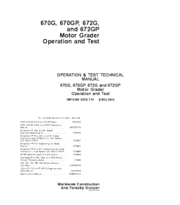 John Deere 670g 670gp 672g 672gp Motor Grader Operation And Test Service Manual Tm11204   eBooks   Automotive