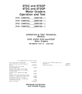 John Deere 670g 670gp 672g 672gp Motor Grader Operation And Test Service Manual Tm13065x19 | eBooks | Automotive