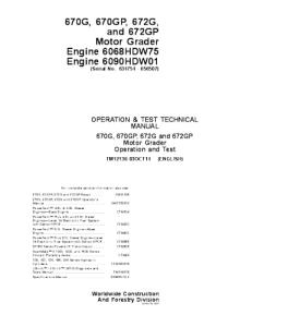 John Deere 670g 670gp 672g 672gp Motor Grader Operation And Test Service Manual Tm12136 | eBooks | Automotive