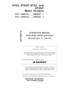 John Deere 670g 670gp 672g 672gp Motor Grader Operator Manual Omt314823 | eBooks | Automotive
