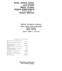 John Deere 670g 670gp 672g 672gp Motor Grader Service Technical Manual Tm12137 | eBooks | Automotive