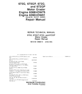 John Deere 670g 670gp 672g 672gp Motor Grader Series Service Technical Manual Tm12138 | eBooks | Automotive