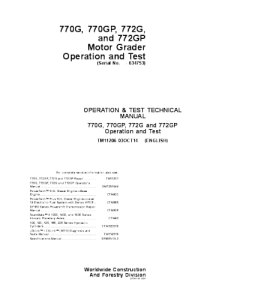 John Deere 770g 770gp 772g 772gp Motor Grader Operation And Test Service Manual Tm11206   eBooks   Automotive