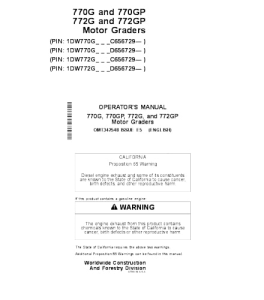 John Deere 770g 770gp 772g 772gp Motor Grader Operator Manual Omt342548 | eBooks | Automotive