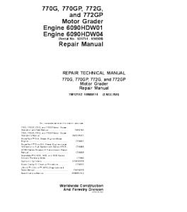 John Deere 770g 770gp 772g 772gp Motor Grader Service Technical Manual Tm12142   eBooks   Automotive