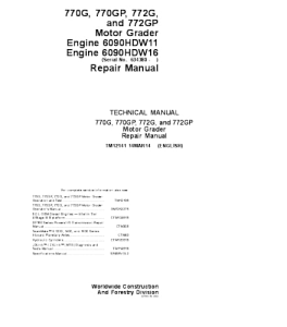 John Deere 770g 770gp 772g 772gp Motor Grader Service Technical Manual Tm12141 | eBooks | Automotive