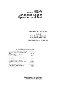John Deere 210le Landscape Loader Operation And Test Service Manual Tm10134 | eBooks | Automotive