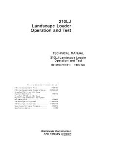 John Deere 210lj Landscape Loader Operation And Test Service Manual Tm10730 | eBooks | Automotive