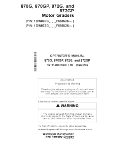 John Deere 870g 870gp 872g 872gp Motor Grader Operator Manual Omt314826 | eBooks | Automotive