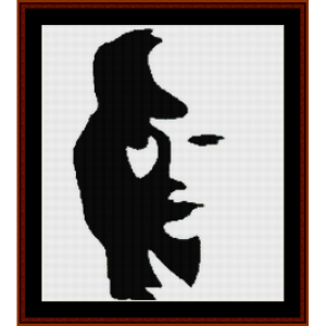 woman or saxophone player? - optical illusion cross stitch pattern by cross stitch collectibles