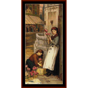 flower market - a.e. mulready cross stitch pattern by cross stitch collectibles