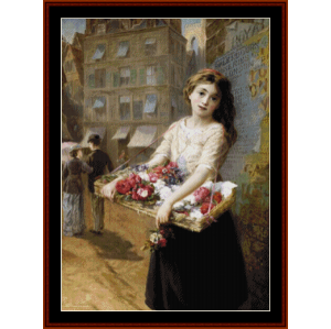 flower girl - a.e. mulready cross stitch pattern by cross stitch collectibles