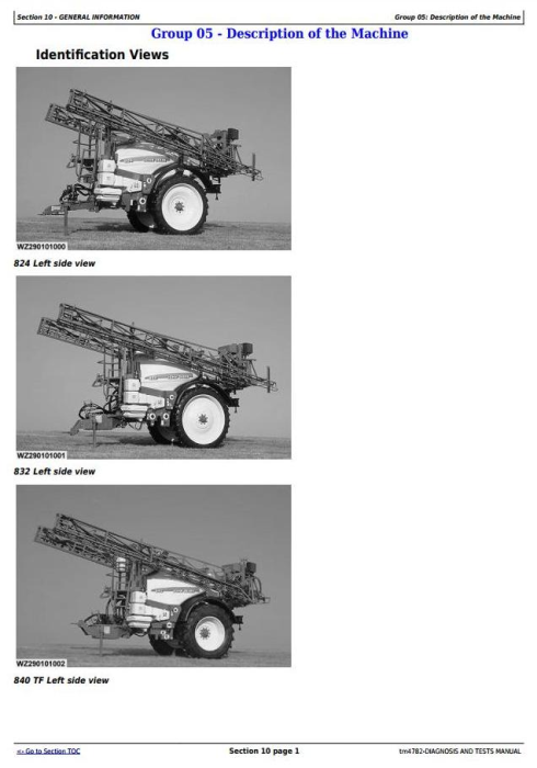 First Additional product image for - John Deere 824, 832, 840 Trailed Sprayers w.ELC-1/EHC-2/EL-4 unit Diagnostic Service Manual (tm4782)