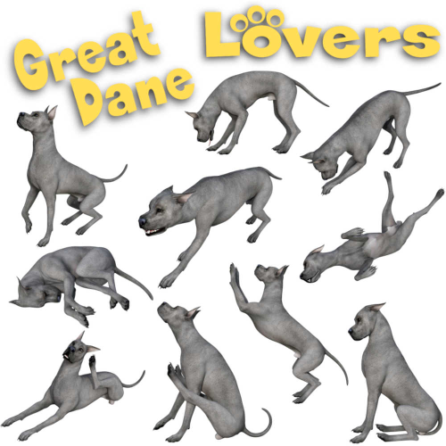 First Additional product image for - GREAT DANE Lovers Poses for Daz Studio and Daz Dog 8 Breed