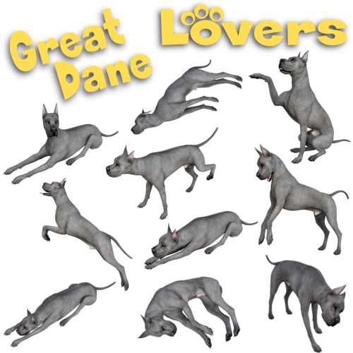 Second Additional product image for - GREAT DANE Lovers Poses for Daz Studio and Daz Dog 8 Breed