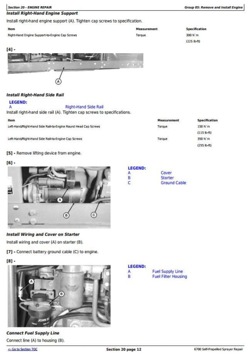 Second Additional product image for - John Deere 6700 Self-Propelled Sprayer Service Repair Technical Manual (TM1742)
