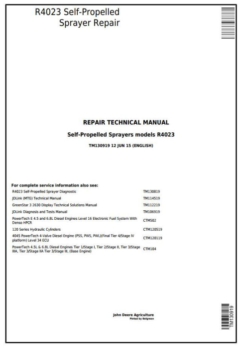 First Additional product image for - John Deere R4023 Self-Propelled Sprayers Service Repair Technical Manual (TM130919)