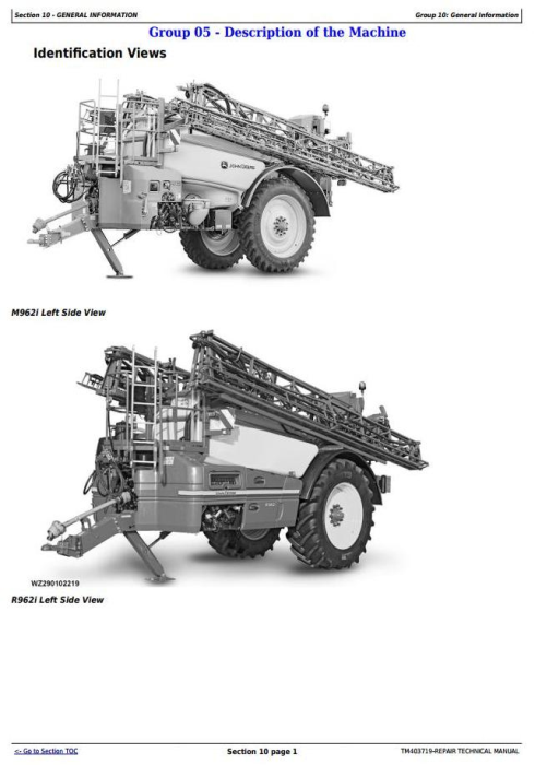 First Additional product image for - John Deere M944(i), M952(i), M962(i), R944i, R952i, R962i Trailed Sprayers Repair Manual (TM403719)