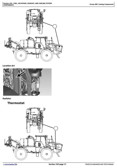 Second Additional product image for - John Deere R4040i Demountable Self-Propelled Crop Sprayer Diagnostic&Tests Service Manual (TM407519)