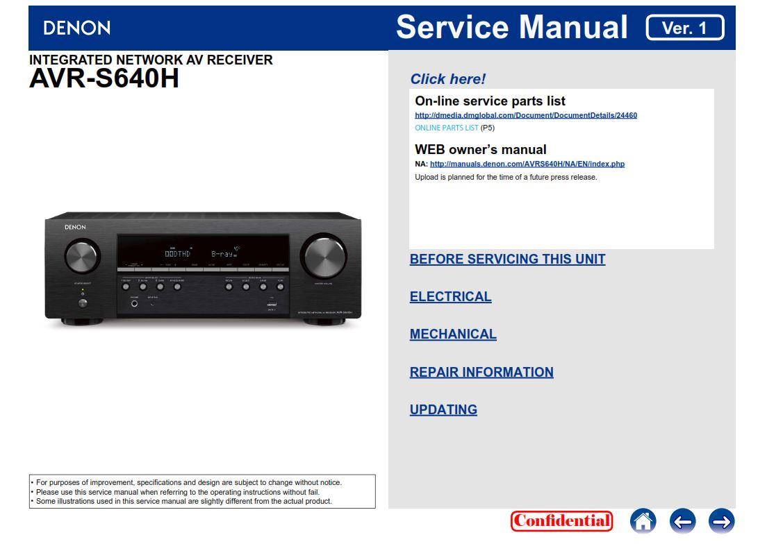 Denon AVR S640H AV Receiver Service Manual | eBooks | Technical