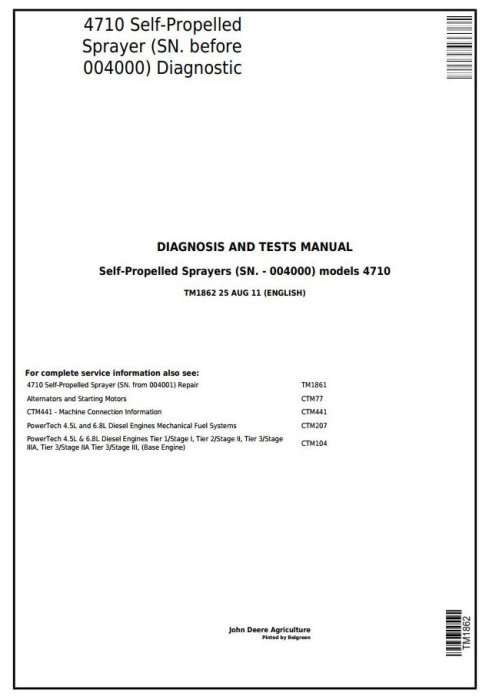 First Additional product image for - John Deere 4710 Self-Propelled Sprayers (SN. -004000) Diagnostic & Tests Service Manual (TM1862)