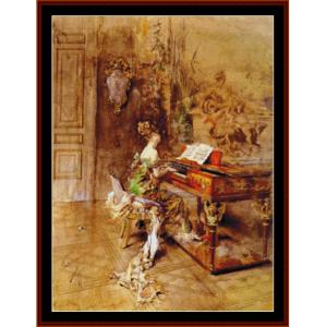 Lady Pianist - Boldini cross stitch pattern by Cross Stitch Collectibles | Crafting | Cross-Stitch | Other
