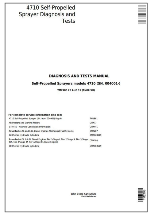 First Additional product image for - John Deere 4710 Self-Propelled Sprayer (SN.from 004001) Diagnostic and Tests Service Manual (TM2108)