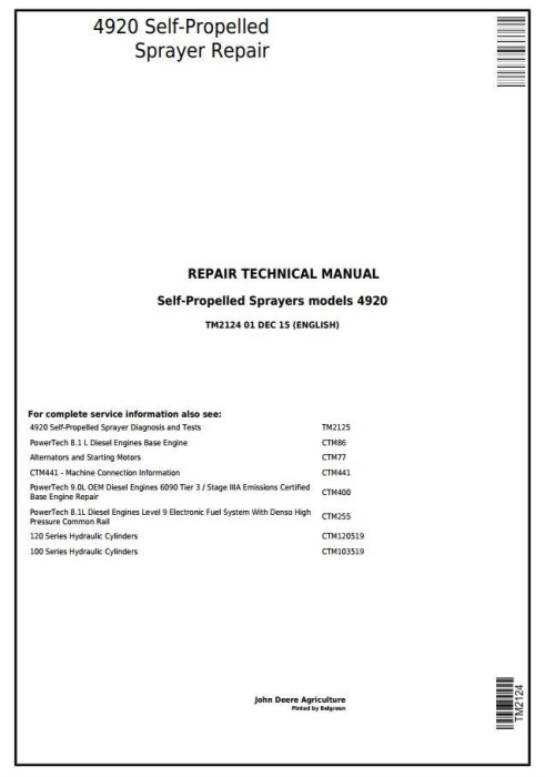 First Additional product image for - John Deere 4920 Self-Propelled Sprayers Service Repair Technical Manual (TM2124)