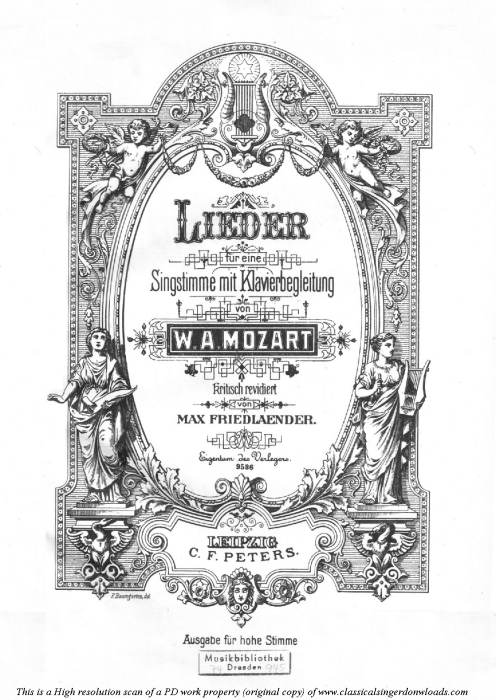 First Additional product image for - An Chloe K. 523 High Voice in E-Flat Major., W.A. Mozart., C.F. Peters (Friedlaender). A4