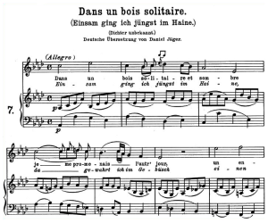 dans un bois solitaire, k.308-295b, high or medium voice in a-flat major, w.a. mozart., c.f. peters (friedlaender). a4