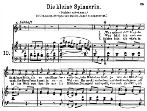 Die kleine Spinnerin K 531, High or Medium Voice in D Major, W.A. Mozart., C.F. Peters (Friedlaender). A4   eBooks   Sheet Music