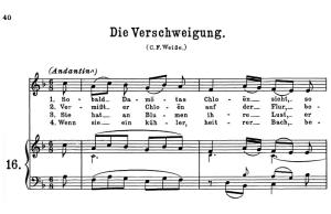 die verschweigung k. 518, high or medium voice in f major. w.a. mozart., c.f. peters (friedlaender). a4