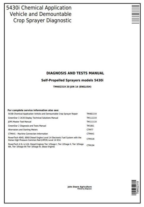 First Additional product image for - John Deere 5430i Demountable Self-Propelled Crop Sprayer Diagnostic &Tests Service Manual (TM402319)