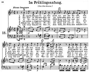 im frühlingsanfang k.497, high or medium voice in e-flat major, w.a. mozart., c.f. peters (friedlaender). a4