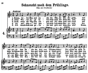 sehnsucht nach dem frühlinge (komm, lieber mai) k.596, high or medium voice in f major, w.a. mozart., c.f. peters (friedlaender). a4