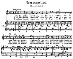 trennungslied k.519 (das lied der trennung), high voice in f minor, w.a. mozart., c.f. peters (friedlaender). a4